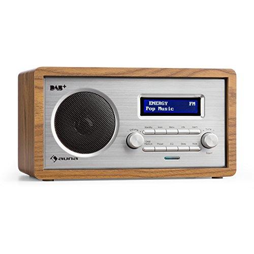auna Harmonica • Digitalradio • DAB+ / UKW-Radiotuner • Radiowecker • Retro • automatische/manuelle Sendersuche • RDS • AUX • Sleep-Timer • braun