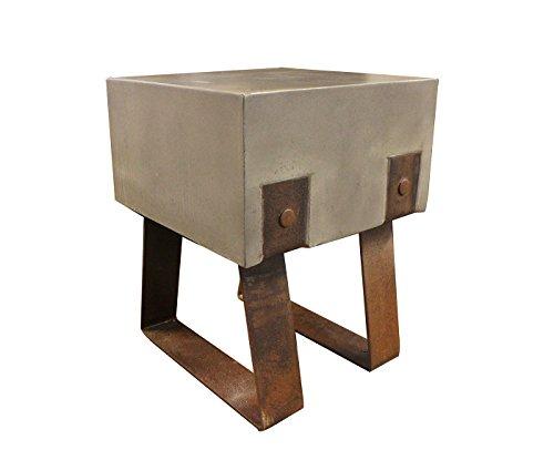 Meubletmoi Tabouret en béton et métal veilli- sellette Tendance Design loft - Style Industriel