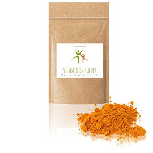 Vitamin B2 (Riboflavin) Pulver - 30 g - in geprüfter Qualität - 100% vegan & rein - absolut rein ohne Rückstände - glutenfrei, laktosefrei - OHNE Hilfs- u. Zusatzstoffe -