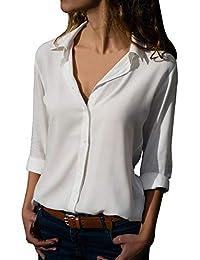 Firally - Camisas - Liso - Redondo - Manga Larga - para Mujer