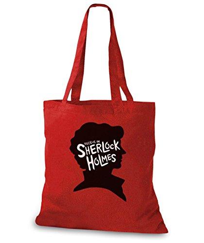 StyloBags Jutebeutel / Tasche I believe in Sherlock Holmes Rot