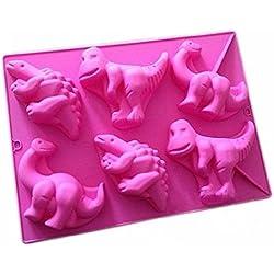 FantasyDay® 6 cavidades moldes de silicona para hielo, tartas, chocolate - 100% alimentarias y sin bpa - Cartón Dinosaurio