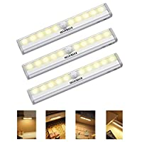 Gluckluz 10 LED Bulbs Battery Operated Closet Light,Wireless Magnetic Security Motion Sensor Night Lights for Hallway Stairway (Warm White, Pack of 3)