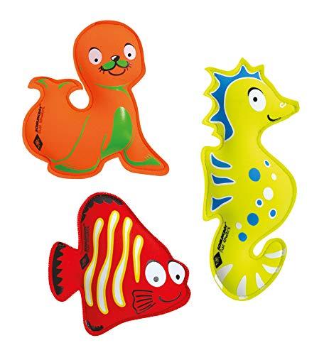 Schildkröt Neopren Tauchtiere, 3er Set Diving Animals bestehend aus 1 Seelöwe, 1 Seepferdchen, 1 Fisch, perfekt für das Ausdauertraining im Wasser, 970208