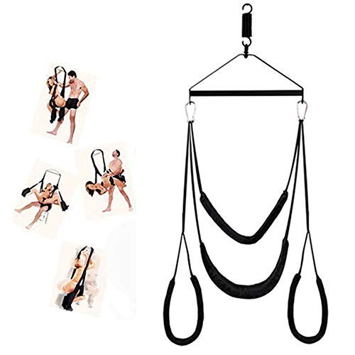 Adult Door Swing with a Seat for Couples - Includes Steel Triangle Frame and Spring Holds up to 800 lbs (Black)