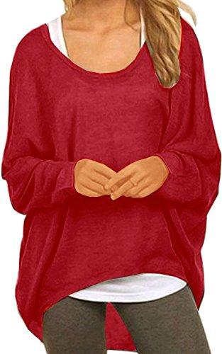 Meyison Damen Lose Asymmetrisch Sweatshirt Pullover Bluse Oberteile Oversized Tops T-Shirt Wein Rot-XXL (Sweatshirt Roten Top)