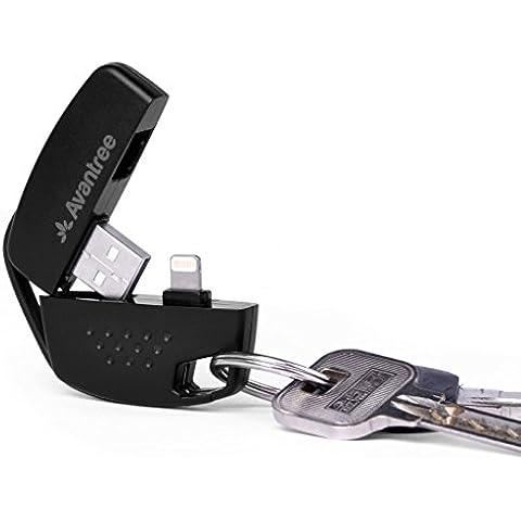 [Certificado MFi Apple] Llavero Cargador y Sincronizador Avantree Lightning a USB cable, compatible con todas las versiones iOS de iPhone 6S, 6S Plus, 6, 6 Plus, 5s, 5, 5c, iPad mini, iPod Nano 7, iPod touch 5, iPad 4 y otros dispositivos Apple con conector Lightning - Negro