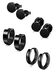 Idea Regalo - Sailimue 4 paia di orecchini in acciaio inossidabile per uomo donne cerchio orecchini abbracciano piercing 18g