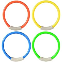 Formulaone 4Pcs/Set Dive Ring Swimming Pool Accessories Swimming Aid for Children Water Play Diving Sports Summer Beach Toy - Yellow & Blue & Green & Orange