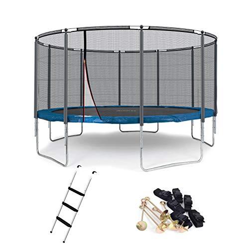 Ampel 24 Outdoor Trampolin 430 cm blau mit verstärktem Netz, gepolsterten Stangen, Stabilitätsring, Leiter & Windsicherung, Belastbarkeit 160 kg