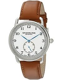 Stührling Original 207.01 - Reloj analógico para hombre, correa de cuero, color negro