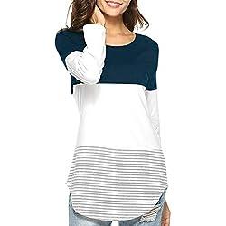 JiaMeng Camisas Mujer, Blusas para Mujer Camiseta Tops El¨¢sticas de Manga Larga a Rayas de Manga Larga Diaria Blusas(Azul Oscuro,M)