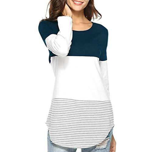 JiaMeng Camisas Mujer, Nuevo Blusas para Mujer Camiseta Tops elásticas de Manga Larga a Rayas de Manga Larga Diaria Blusas(Azul Oscuro,L)
