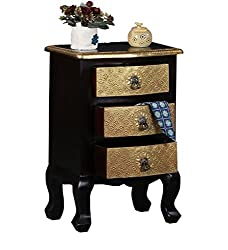 Theshopy Wooden Hand Made 3 Drawer Side Table With Brass Ftd A434A