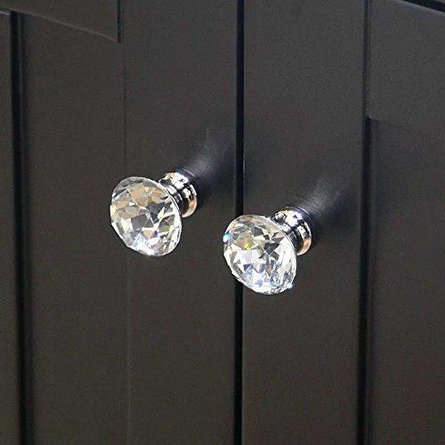 Pomos para Muebles 30mm,CCUCKY 10 Piezas Pomos de Cristal Perillas de Gabinete de Diamante,Ideal para Cajón y Gabinete,Diseño de Diamante,Decoración única