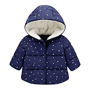 squarex ® Boy Wintermantel Kinder Kapuzenmantel Kinderjacke Baby Warme Oberbekleidung Mädchen Langarm Kleidung Sterne bedruckter Baumwollmantel
