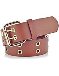 Functionaryb 2019 Gold 2 Row Grommet Cinturones para mujeres Doble hebilla  con hebilla Diseñador Pu- 881b47869e3f