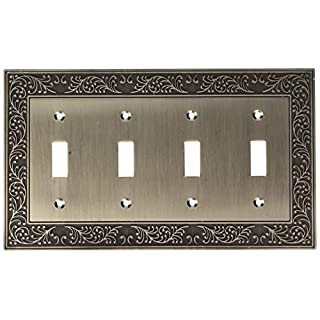 AmerTac 43T4AN 4 Toggle English Garden Wallplate, Antique Nickel
