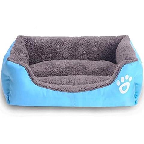 Koly Gato del perro de perrito del amortiguador cama Casa caliente suave manta Mat Caseta de Perro (L, azul)