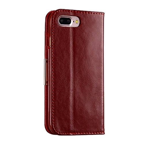 Hülle für iPhone 7 plus , Schutzhülle Für IPhone 7 Plus TPU Magnetische Horizontale Flip Echtes Leder Etui Mit Kartenfächern & Halter ,hülle für iPhone 7 plus , case for iphone 7 plus ( Color : Brown  Red