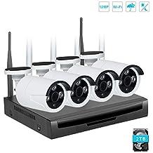 EMAX Kit Videosorveglianza Wifi NVR 720P 4Canali 4 Wifi Telecamera Sorveglianza Esterno Antifurto Casa Visione Notturna H.264(Disco rigido da 2 TB preinstallato)