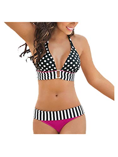 Heiße Bikini-badeanzug (SUMTTER 2019 Bademode Damen Badeanzug Frauen Push up Zweiteiler Brasilianisch Bikini-Sets Bandeau Strandkleidung (Heißes Pink3, Small))