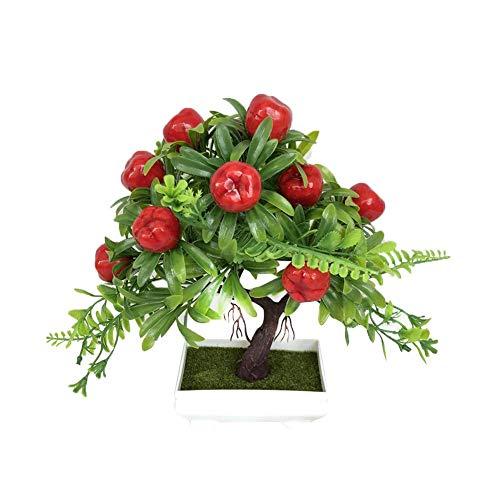 Unechte Blumen,Künstliche Blume Deko Blumen Gefälschte Blumen Kleiner Bonsai Kleiner Bonsai Roter Apfelbaum Pfirsichbaum Home Dekor Braut Hochzeitsblumenstrauß Für Haus Garten Party Blumenschmuck