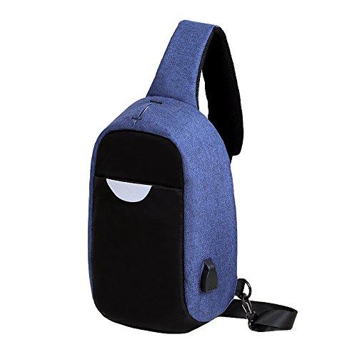 Tutoy Männer Externe Usb-Aufladen Multi-Funktion Sling Bag Wasserabweisend Anti-Diebstahl-Tasche Für Ipad-Dunkelblau