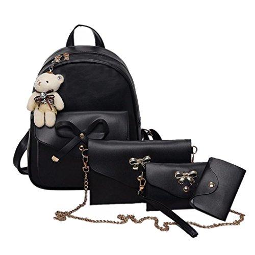k, 1 Sätze Frauen Mädchen Mode Rucksack Handtasche Schultertasche Schuleinkaufstasche Crossbody Frau Geschenke (4PCS, Schwarz) ()