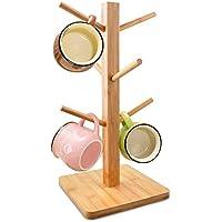 Taza de árbol, edobil extraíble taza de bambú soporte, almacenamiento café taza de té soporte organizador con 6ganchos Natural bamboo