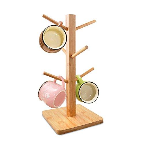 Mug Rack Arbre, Edobil amovible en bambou Mug Café Tasse à thé de rangement organisateur support, support pour cintre avec 6 crochets bambou naturel