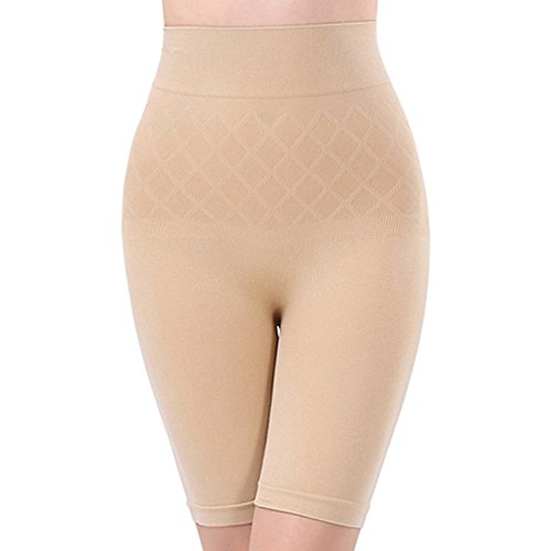 Lace And Me Women's Blended High Waist Tummy & Thigh Shapewear ( ,Beige,Free Size)