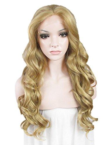 IMSTYLE femme blonde perruque lace frontal synthétique résistant à la chaleur blonde longue frisé