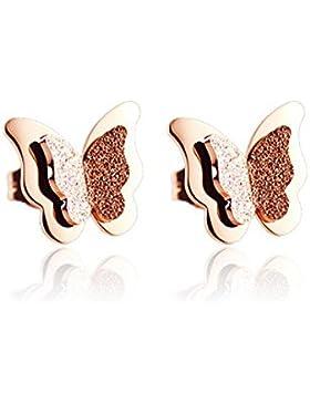 FindOut rosé vergoldet Titan Stahl bereift schmetterlingsförmigen vierblättrige Kleeblatt Ohrringe (f944). Größe...
