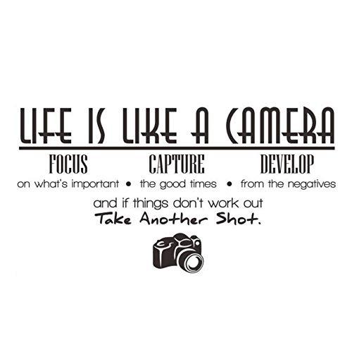xlei Tiere Das Leben Ist Wie Eine Kamera Fokus Erfassen Entwickeln Kunst Wandaufkleber PVC Abnehmbare DIY Wohnkultur Wasserdichte Wohnzimmer Decals113X59Cm