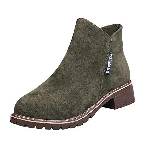 MYMYG Casual Ankle Boot für Damen Ankle Short Boots Lederschuhe Sneakers Winter Herbst warme Stiefel Kurzschaft Winterstiefel Flache Booties