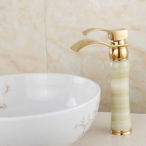 Saphir-tisch (Kupfer-Jade-Tisch im europäischen Stil unter dem heißen und kalten goldenen Wasserhahn im Wasserfall-Stil über dem Aufsatzbecken Vergoldeter Wasserhahn Saphir-Erhöhung)