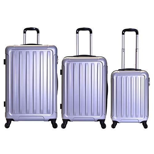 Slimbridge set di 3 - trolley bagaglio a mano, media e grande - valigie rigida leggera 78 cm 3,8 kg 85l, 67 cm 3,2 kg 55l, 55 cm 2,8 kg 35 l - con rotelle pivotanti e lucchetto integrato, lydd argento