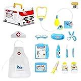 COOLGO Maletin Medico Kit, 15Pcs Juguete de Doctora, Médico Conjunto Enfermera Médico Kit Pretender Doctora Kit con Estuche de Almacenamiento de Ambulancia para Niños de 3+ Años