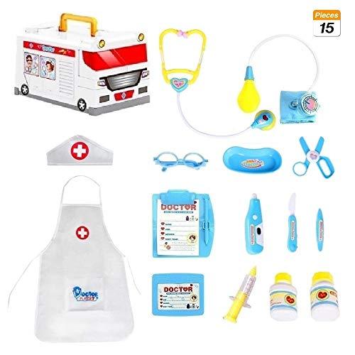 COOLGO Arztkoffer Set Kinder, 15Pcs Rollenspiel Spielset Krankenwagen Spielzeugkiste Arztkoffer-Set mit Arzt kostüm und Arztinstrumente Spielzeug für Kinder(Arztkoffer Set Kinder)