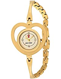 Swiss Trend Golden Heart Dial Stainless Steel Analog Watch For Girls