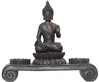 Evre Asian Buddha Homely Candle Holder - From Durable Polyresin - Brown 20cm