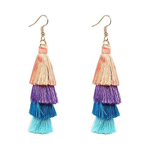 Boucles d'oreilles à perles Tiered Thread Tassel Dangle Boucles d'oreilles Statement Boucles d'oreilles en perle multicolore (Couleur rouge)