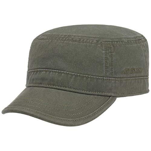 Stetson Stetson Gosper Army Cap Oliv-grün Damen/Herren | Urban Armycap aus Baumwolle | Militärcap mit UV-Schutz | Mütze in den Größen S 54-55 cm | Kappe Sommer und Winter