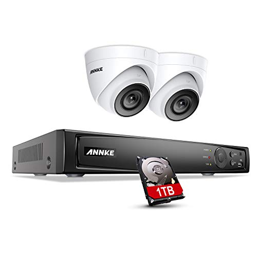 ANNKE 8CH 4K Surveillance Camera System with 2X 5MP HD IP Camera H.265 + POE NVR Video Surveillance 1TB Hard Drive 30m EXIR Night Vision Onvif for Indoor Use on Mobile Phone, Browser and PC Available (Zu Hause-surveillance-system Sicherheit)