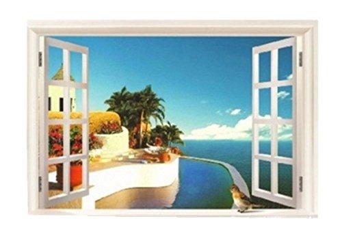 Kira-Kira. World Beach Sea 3D Fenster Wandtattoo Großer, Herausnehmbarer Wand Aufkleber für Home Interior Esszimmer, Schlafzimmer C -