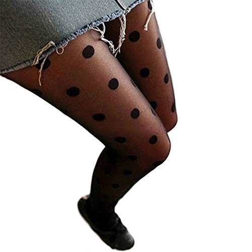Sanwood Schwarz Sexy Spitze Lace Strumpfhosen Socken Strümpfe Leggings mit Dot (Lace Nylon Leggings)