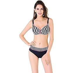 vogueric Plus tamaño de la mujer retro rayas push-up Bikini conjunto traje de baño