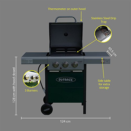 Outback Meteor Hooded Barbecue 3 Burner Gas BBQ Grill Outdoor Cooking with Free Propane Regulator