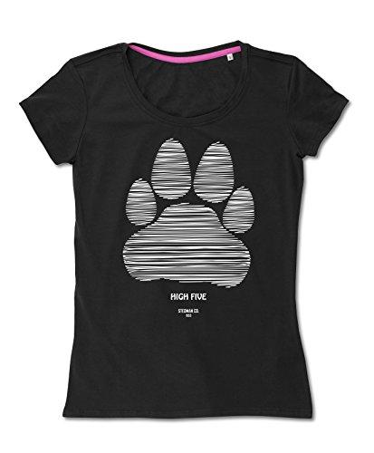 Hunde TShirt für Damen  Motiv High Five Pfote  original Stedman®, für  Frauchen und HundeFans Black Opal